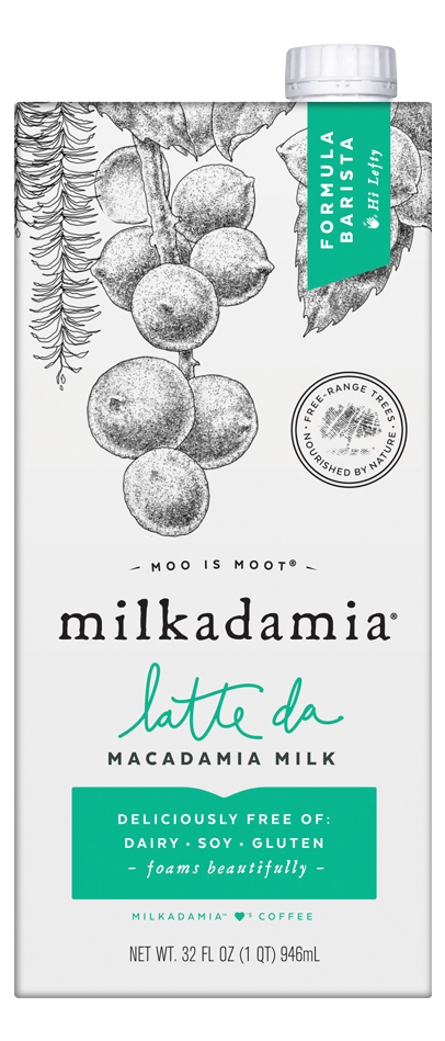 Milkadamia barista latte da creamer. Artfully crafted vegan and lactose friendly. Environmentally caring for our earth.