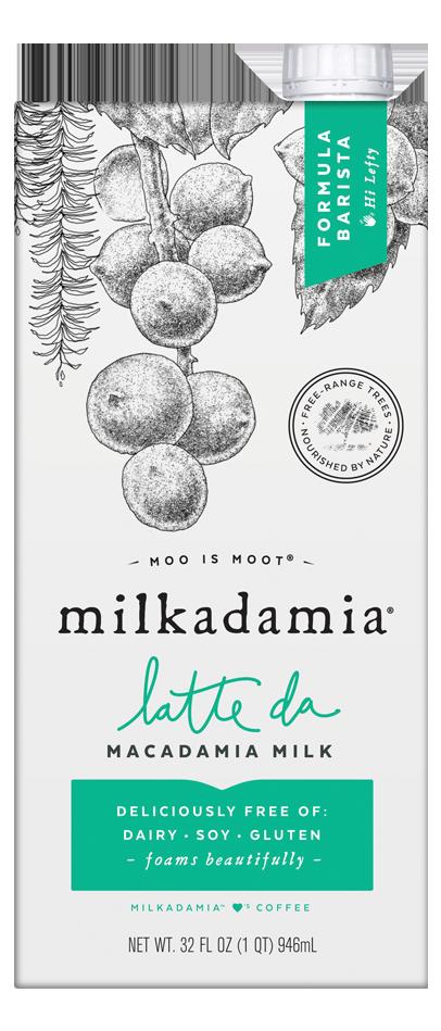 Milkadamia barista latte da creamer. Artfully crafted vegan and lactose friendly. Environmentally caring for our earth.