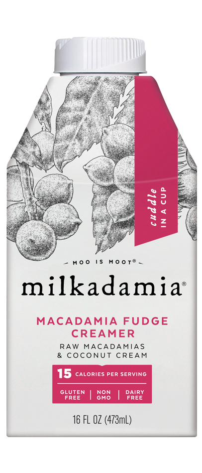 Milkadamia macadamia fudge creamer. Artfully crafted vegan and lactose friendly. Environmentally caring for our earth.