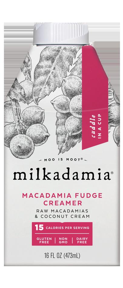 Milkadamia macadamia fudge creamer. Artfully crafted vegan and lactose friendly. Environmentally caring for our earth.