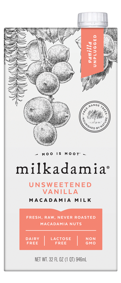 Milkadamia unsweetened vanilla macadamia milk. Artfully crafted vegan and lactose friendly. Environmentally caring for our earth.