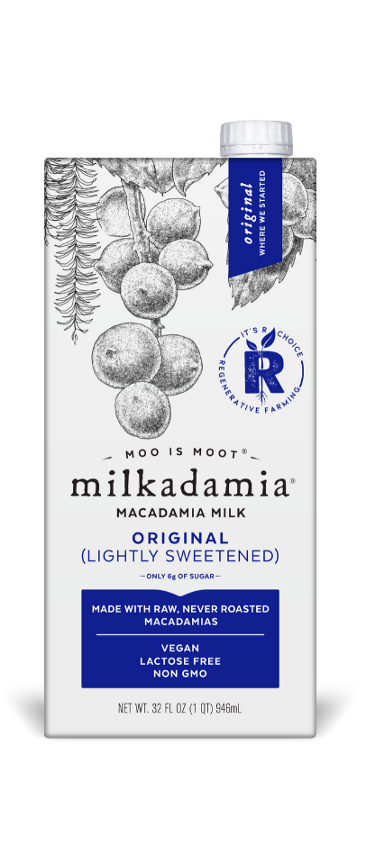 Artfully crafted vegan and dairy free. Environmentally.caring for our earth. milkadamia original milk.