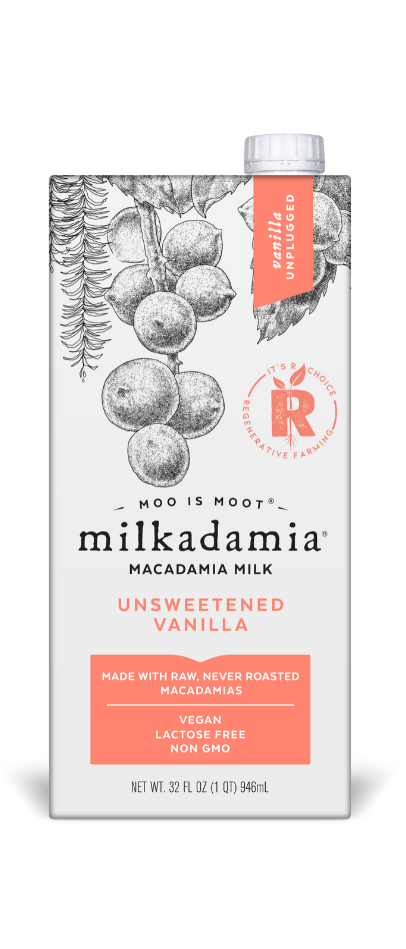 Artfully crafted vegan and dairy free. Environmentally caring for our earth. milkadamia unsweetened vanilla milk.